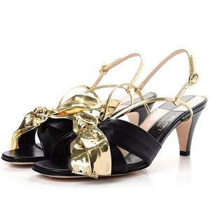 GUCCI Daphne Mid-Heel Sandals with Gold Bow NIB